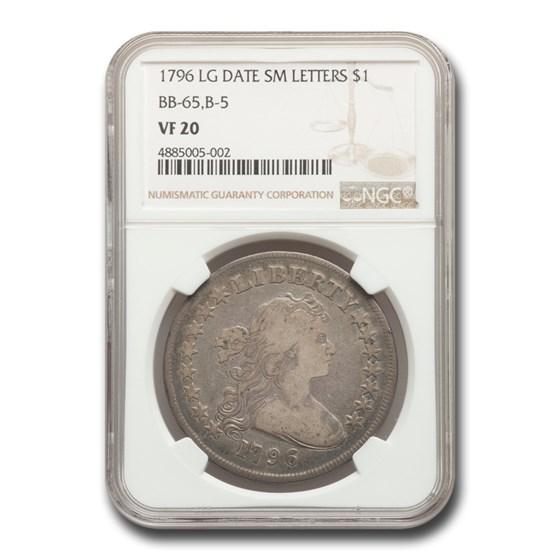 1796 Draped Bust Dollar VF-20 NGC (Lg Date Sm Letters BB-65, B-5)