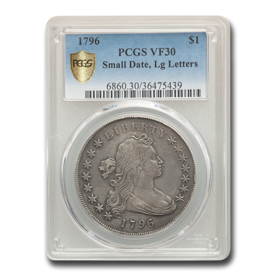 1796 Draped Bust Dollar VF-30 PCGS (Small Date, Lg Letters)