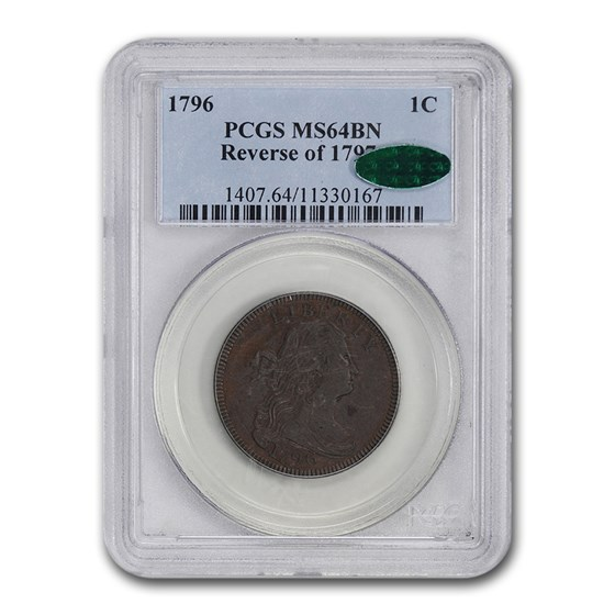1796 Draped Bust Large Cent MS-64 PCGS CAC (Brown, Rev. of 1797)