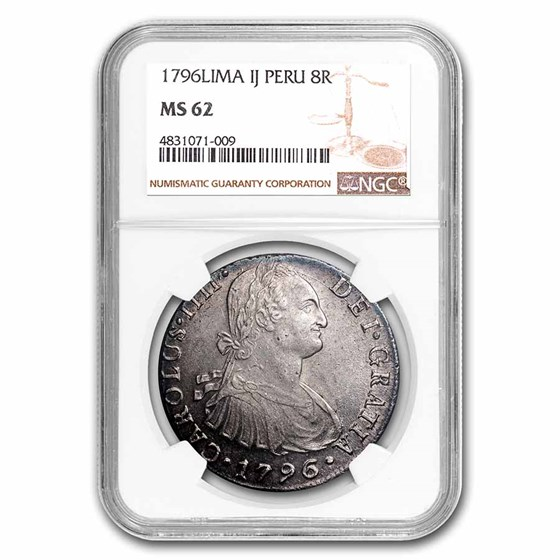 1796-LIMA IJ Peru Silver 8 Reales MS-62 NGC