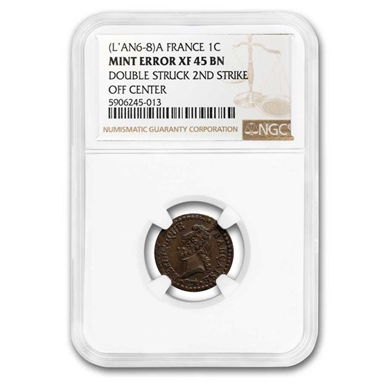 1797-1800-A France Copper Centime XF-45 NGC (Double Struck)