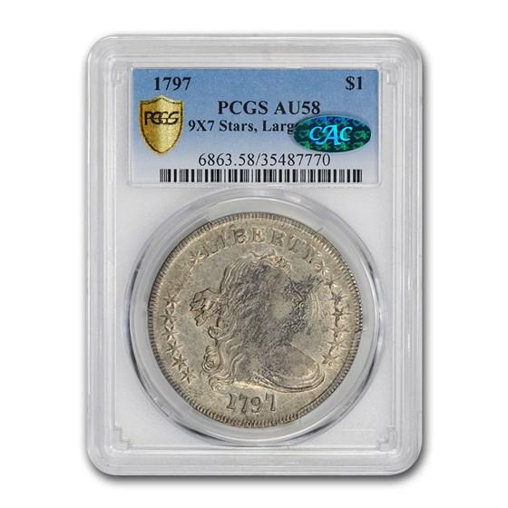 1797 Draped Bust Dollar AU-58 PCGS (9x7 Stars Lg Letters)