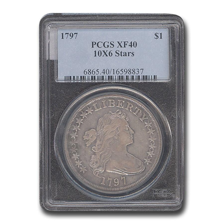 1797 Draped Bust Dollar XF-40 PCGS (10 x 6 Stars)