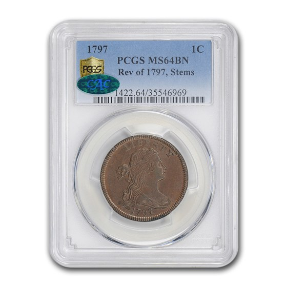 1797 Draped Bust Large Cent w/Stems MS-64 PCGS CAC (BN)