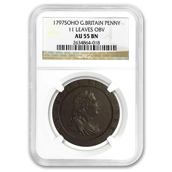 1797 Great Britain Penny George III 11 Leaves AU-55 NGC (Brown)