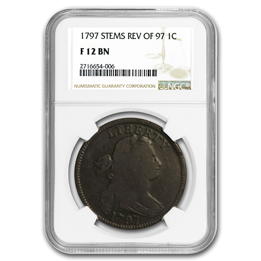 1797 Large Cent Fine-12 NGC (Brown, Stems, Rev. of 97)