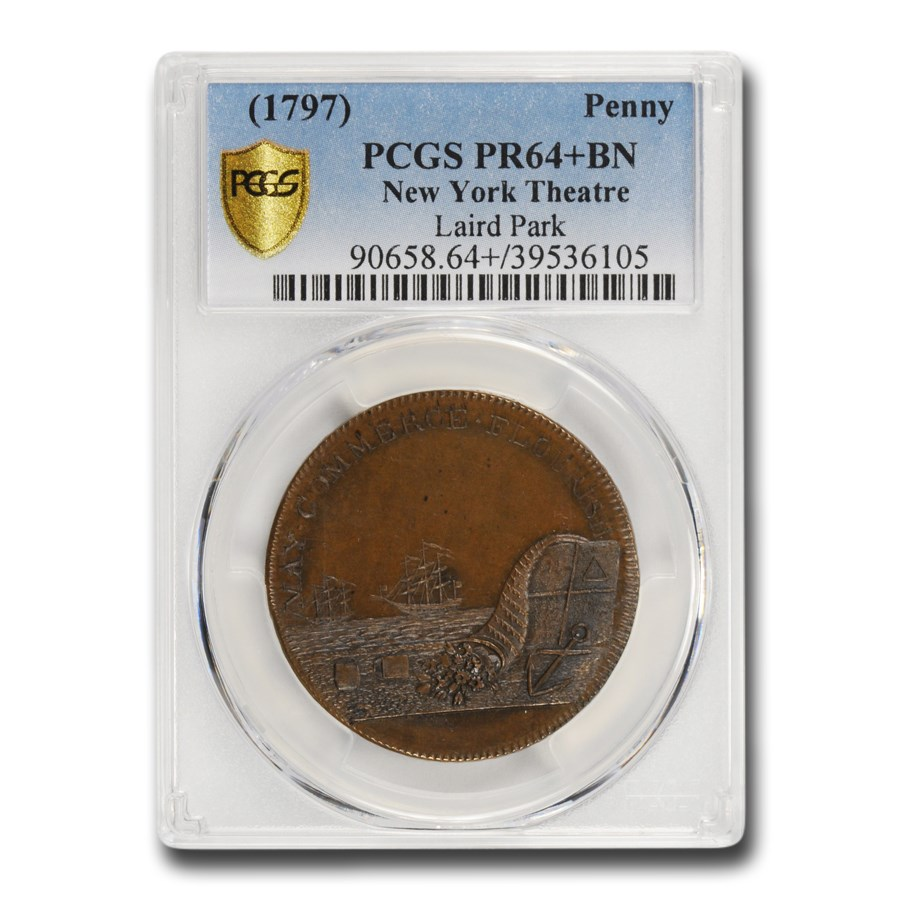 1797 New York Theatre Penny PR-64+ PCGS (Brown)