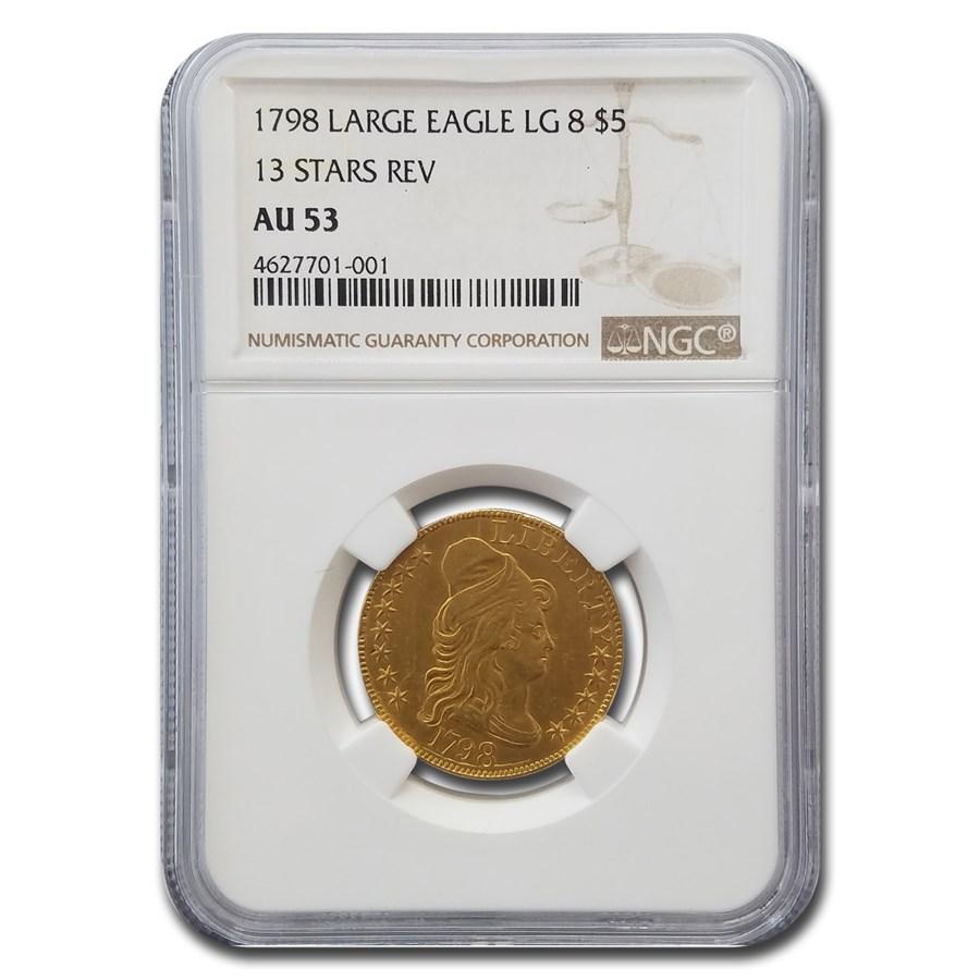 1798 $5 Gold Capped Head Half Eagle AU-53 NGC (Lg Eagle 13 Stars)