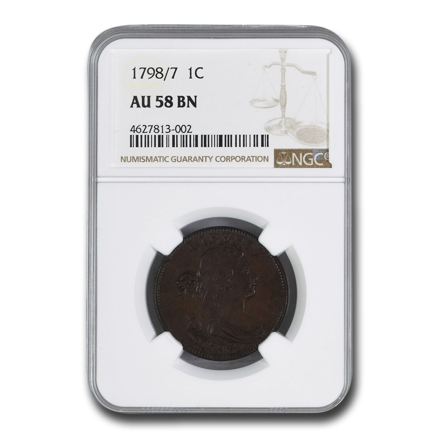 1798/7 Draped Bust Large Cent AU-58 NGC (Brown)