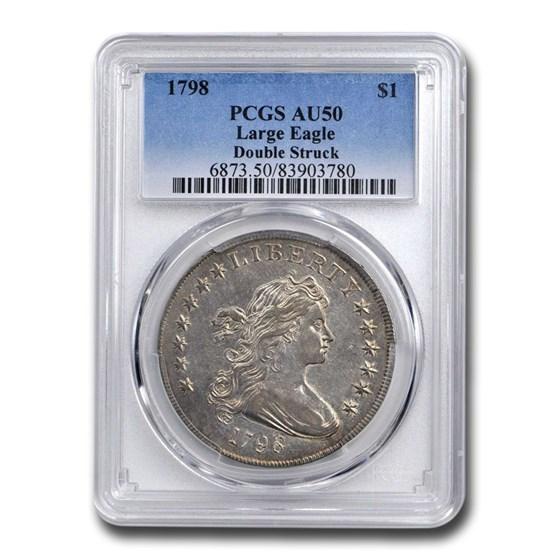 1798 Draped Bust Dollar AU-50 PCGS (Large Eagle, Double Struck)