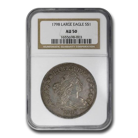 1798 Draped Bust Dollar Heraldic Eagle AU-50 NGC (Large Eagle)