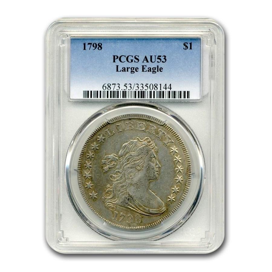 1798 Draped Bust Dollar Heraldic Eagle AU-53 PCGS