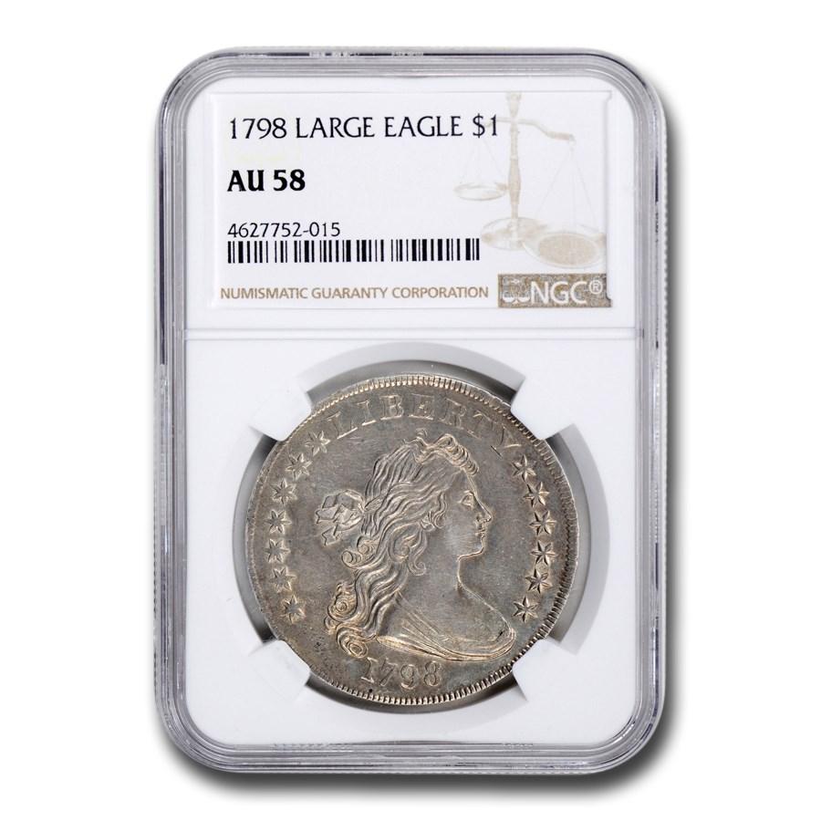 1798 Draped Bust Dollar Heraldic Eagle AU-58 NGC (Large Eagle)