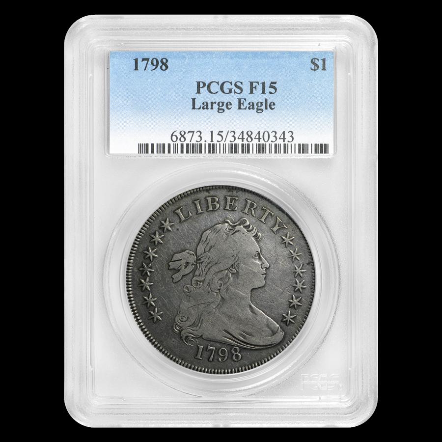 1798 Draped Bust Dollar Heraldic Eagle Fine-15 PCGS