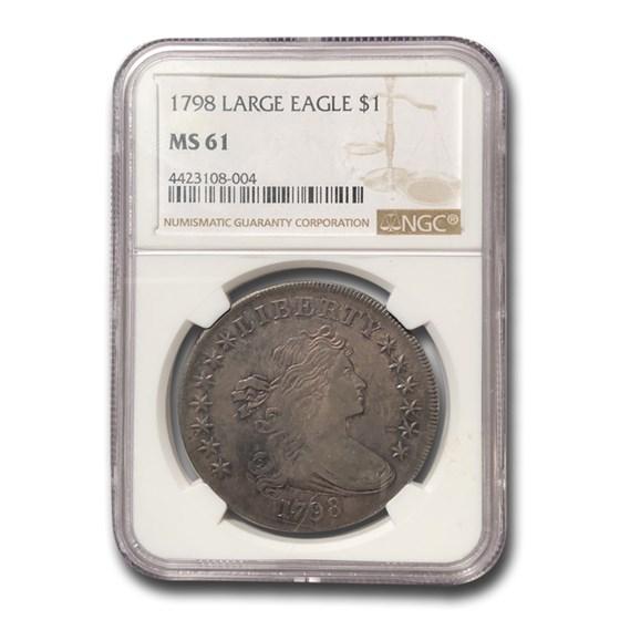 1798 Draped Bust Dollar Heraldic Eagle MS-61 NGC