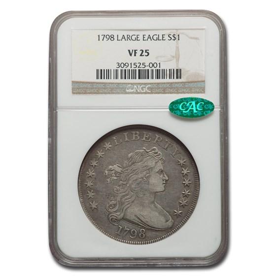 1798 Draped Bust Dollar Heraldic Eagle VF-25 NGC CAC