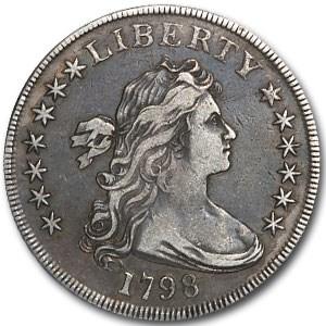 1798 Draped Bust Dollar Heraldic Eagle VF-30