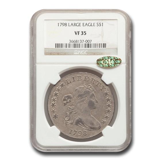 1798 Draped Bust Dollar Heraldic Eagle VF-35 NGC CAC (Lg. Eagle)
