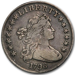 1798 Draped Bust Dollar Heraldic Eagle VF (Die Crack)
