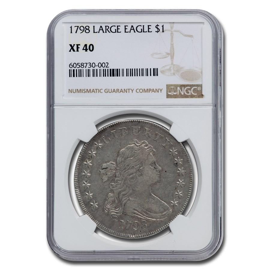 1798 Draped Bust Dollar Heraldic Eagle XF-40 NGC