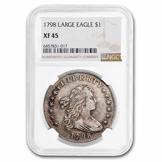 1798 Draped Bust Dollar Heraldic Eagle XF-45 NGC