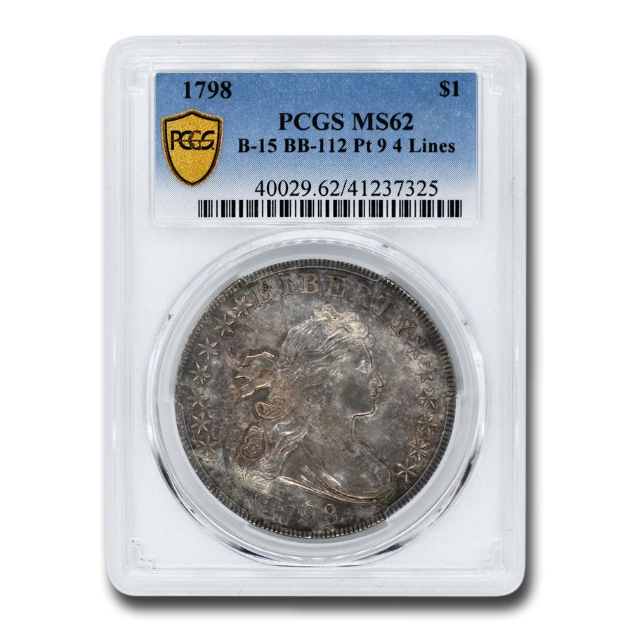 1798 Draped Bust Dollar MS-62 PCGS (B-15 BB-112 Pt 9 4 Lines)