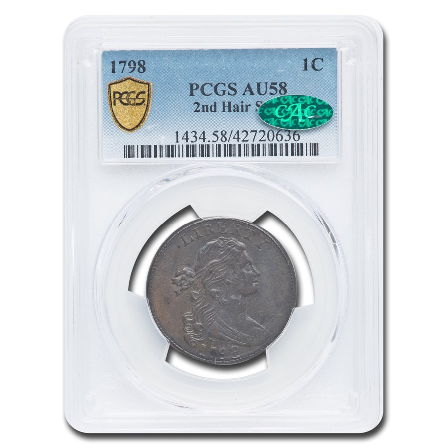 1798 Draped Bust Large Cent AU-58 PCGS CAC (2nd Hair Style)