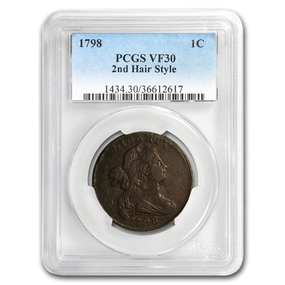 1798 Draped Bust Large Cent VF-30 PCGS (2nd Hair Style)