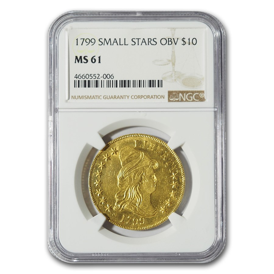 1799 $10 Turban Head Gold Eagle MS-61 NGC (Small Stars Obverse)