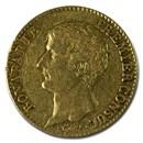 1799-1804 (AN 12-14) France Gold 20 Francs Napoleon (Avg Circ)