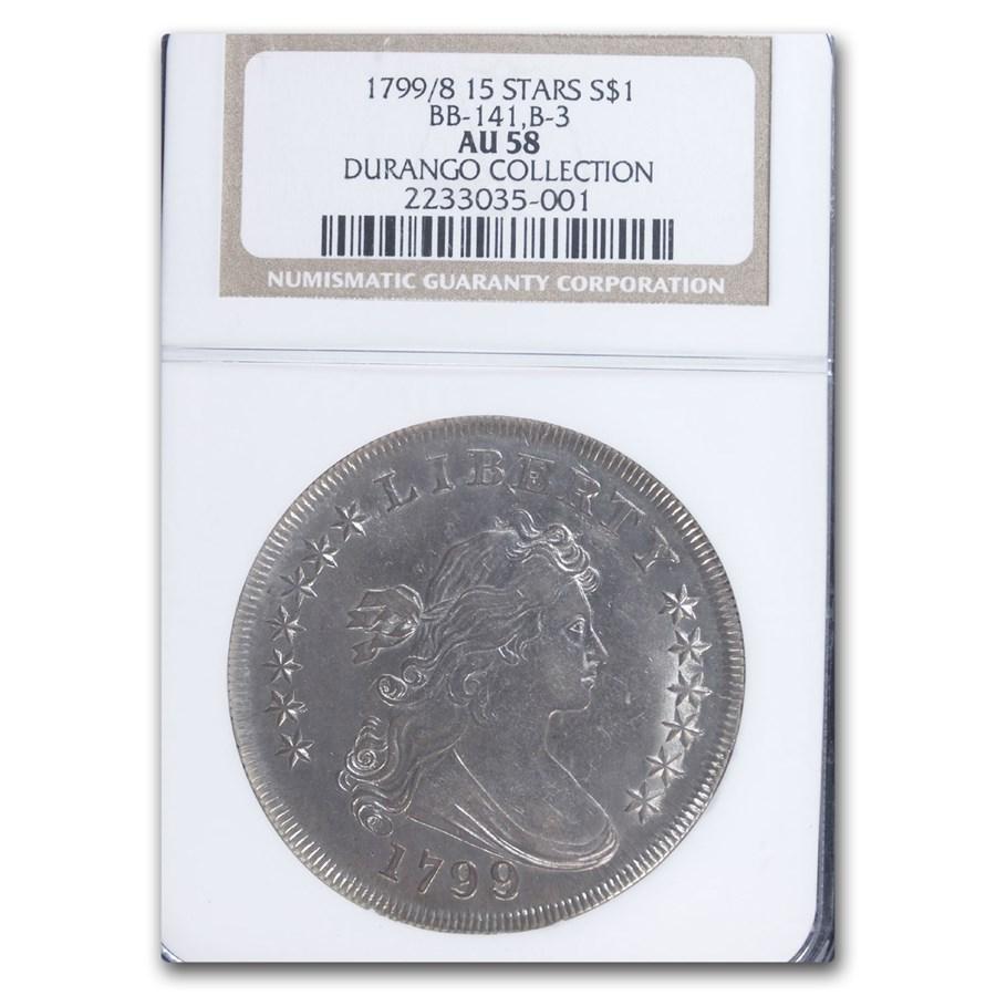 1799/8 Draped Bust Dollar AU-58 NGC (15 Stars, BB-141, B-3)