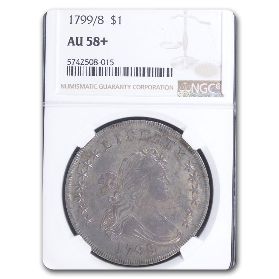 1799/8 Draped Bust Dollar AU-58+ NGC (15 Stars)