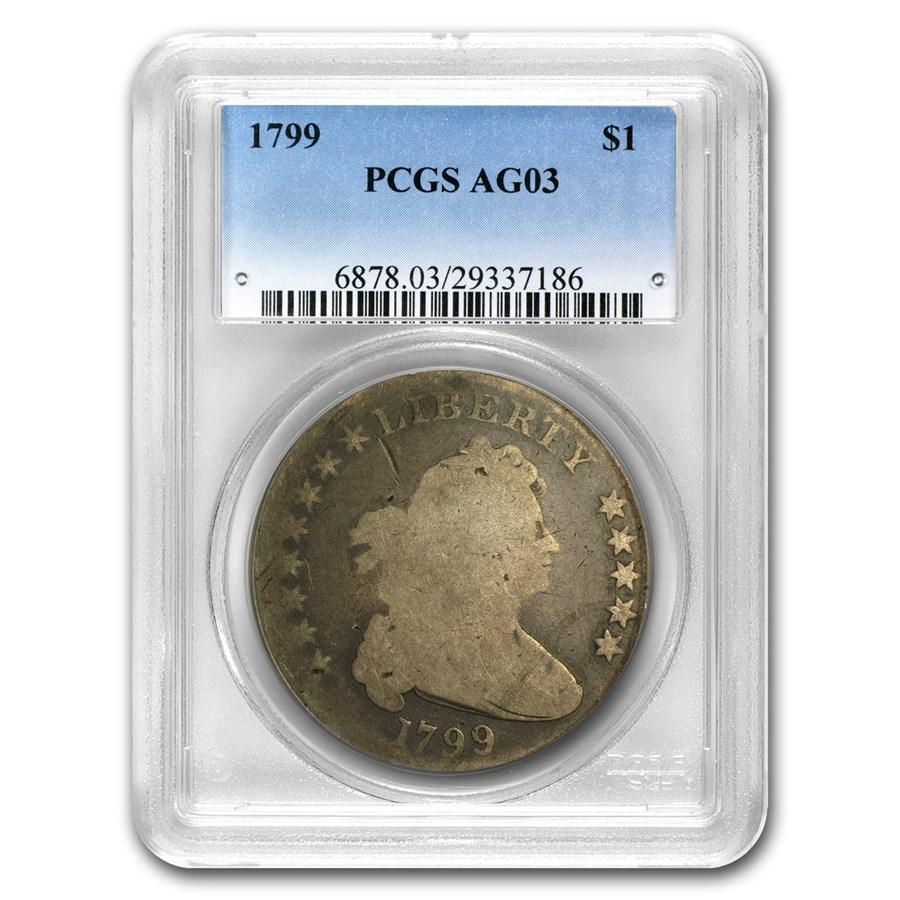 1799 Draped Bust Dollar 8x5 Stars AG-3 PCGS