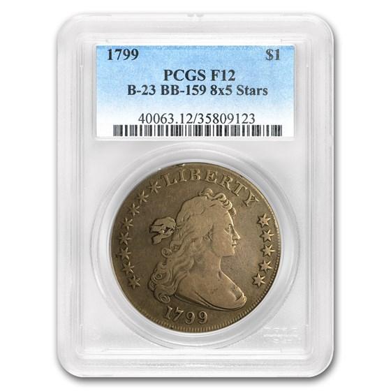 1799 Draped Bust Dollar 8x5 Stars Fine-12 PCGS