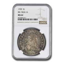 1799 Draped Bust Dollar MS-62 NGC (BB-158, B-16)