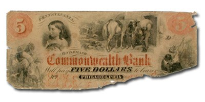 18__ Commonwealth Bank of Philadelphia, PA $5 PA-415 Fine Detail