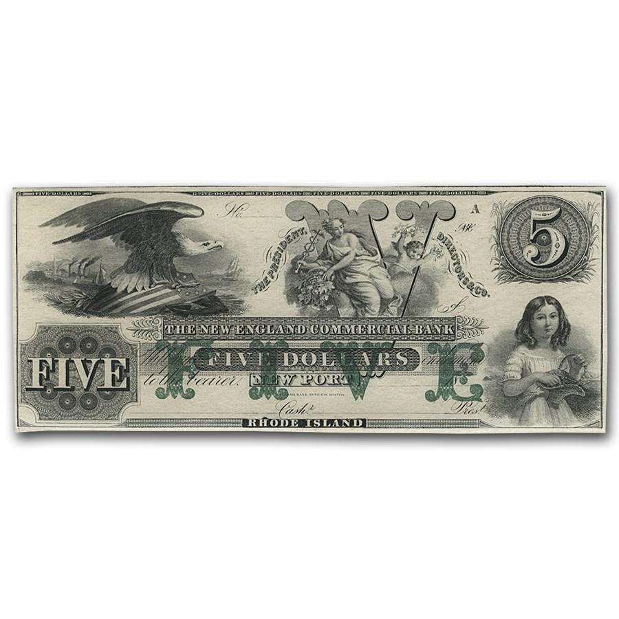 18__ New England Commercial Bank Newport, RI $5 RI-155 CU (G76b)