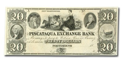 18__ Piscataqua Exchange Bank, Portsmouth $20.00 Note NH-285 CU