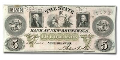18__ State Bank @ New Brunswick, NJ $5.00 NJ-350, AU