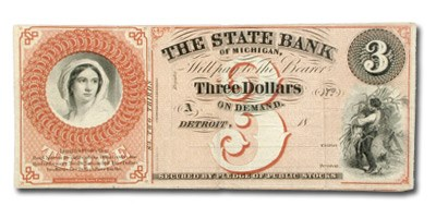 18__ The State Bank of Michigan $3 MI-160 VF
