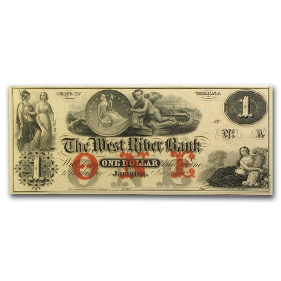 18__ The West River Bank, Jamaica, VT $1.00 Note VT-115 CU