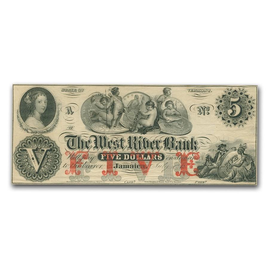 18__ The West River Bank, Jamaica, VT $5.00 Note VT-115 AU