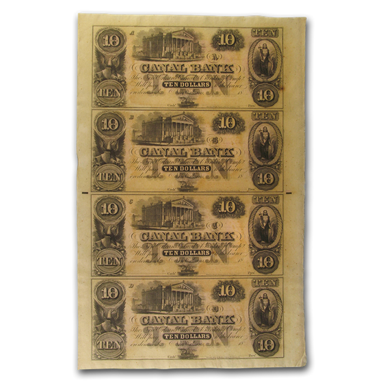 18__ UNCUT SHEET Canal Bank New Orleans LA $10-10-10-10 LA-105 AU