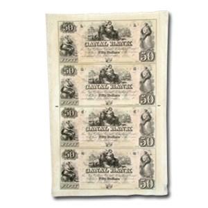 18__ UNCUT SHEET Canal Bank New Orleans LA $50 LA-105 CU G-48a