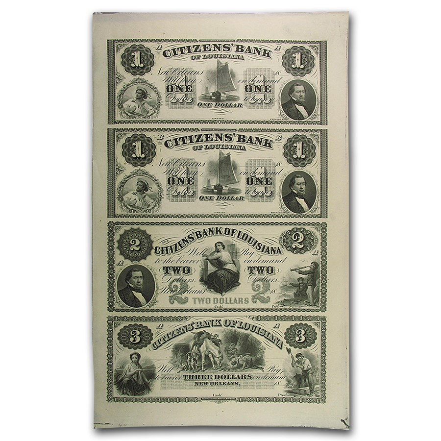 18__ UNCUT SHEET Citizens Bank of Louisiana $1-1-2-3 LA-15 CU