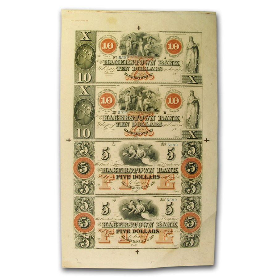 18__ UNCUT SHEET Hagerstown Bank, Hagerstown,MD $5-5-10-10 MD-240