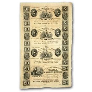 18__ UNCUT SHEET New Orleans Canal & Banking $10-10-10-20 LA-105
