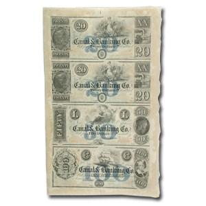 18__ UNCUT SHEET New Orleans Canal & Banking $20-20-50-100 LA-105