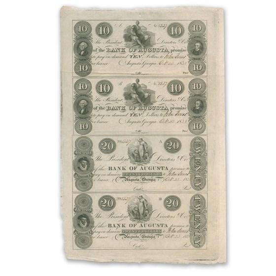 18__ UNCUT SHEET The Bank of Augusta,GA $10-20 GA-30 Ch CU