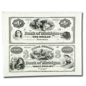 18__ UNCUT SHEET The Bank of Michigan $1.00--$3.00 MI-265 Ch CU